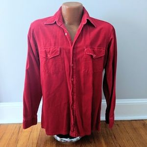 Vintage Corduroy Men's Red Button Up Shirt